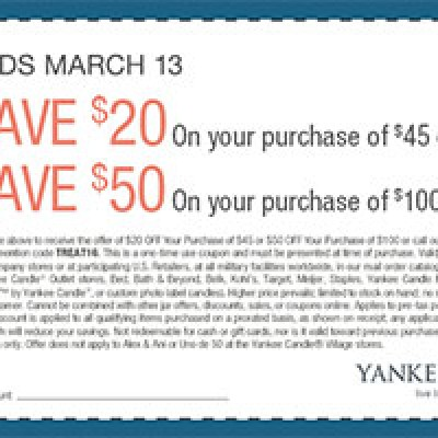 Yankee Candle Coupon: Save $20 off $45