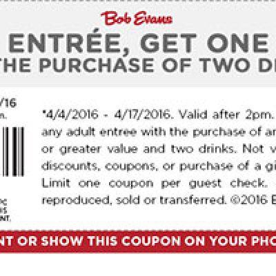 Bob Evans: BOGO 50% Off Entree W/ Drink Purchase