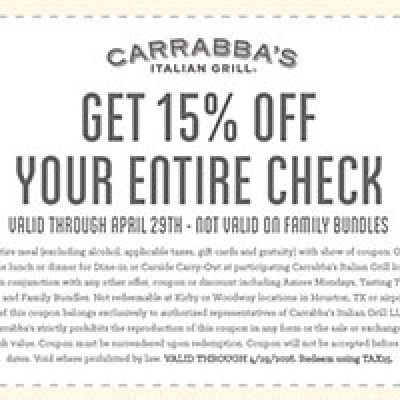Carrabba's Italian Grill: 15% Off Entire Check