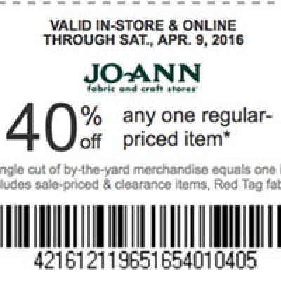 Jo-Ann Fabric: 40% Off One Regular Price Item