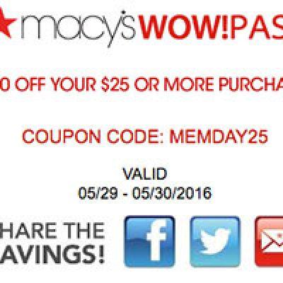 Macy's: $10 Off $25 - Last Day