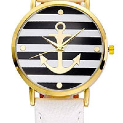 Women's Leather Strap Anchor Watch Just $4.54 + Free Shipping