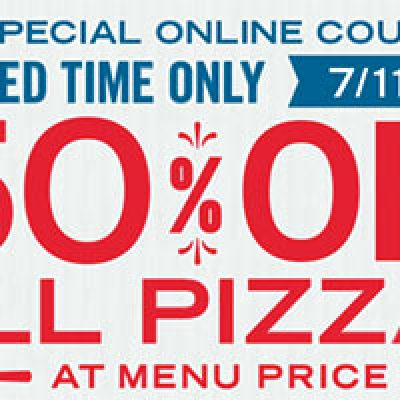 Domino's Pizza: 50% Off All Pizzas Until 7/17