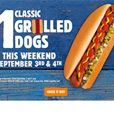 Burger King: $1 Grilled Dogs On Sept 3rd & 4th