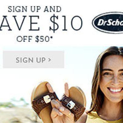 Dr Scholls: $10 Off $50 Coupon