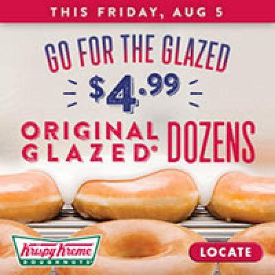 Krispy Kreme: $4.99 Original Glazed Dozen on Aug. 5th