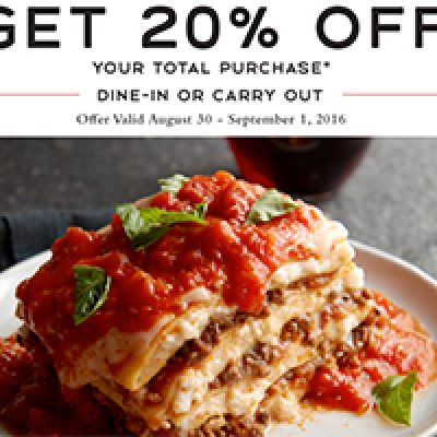 Macaroni Grill: 20% Off Purchase Until Sept 1st