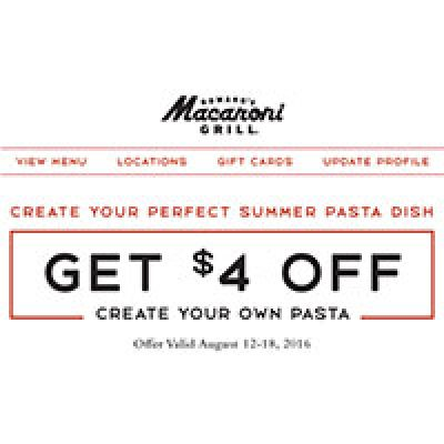 Macaroni Grill: $4 Off Create Your Own Pasta