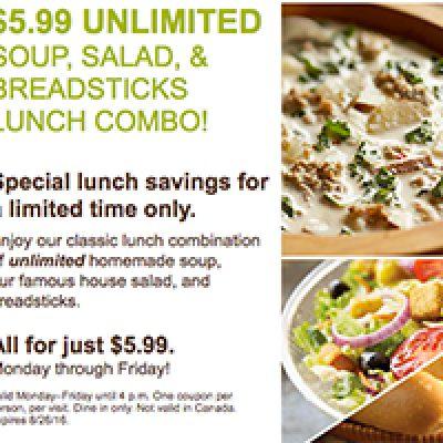 Olive Garden: Lunch $6.99 Unlimited Soup, Salad & Breadsticks