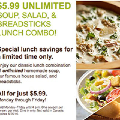 Olive Garden: $5.99 Unlimited Soup, Salad, Breadsticks Lunch Combo