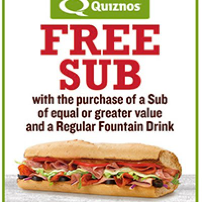 Quiznos: Buy One Get One Free Sub W/ Drink Purchase