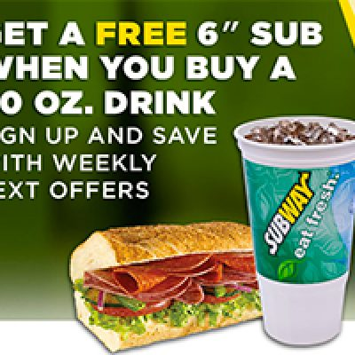 "Subway: Free 6"" Sub W/ Drink Purchase"