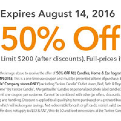 Yankee Candle: 50% Off All Candles Until 8/14