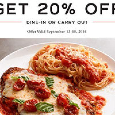 Macaroni Grill: 20% Off Until 9/18