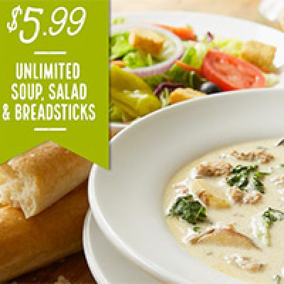 Olive Garden: $5.99 Unlimited Soup, Salad, Breadsticks Lunch - Ends 10/21