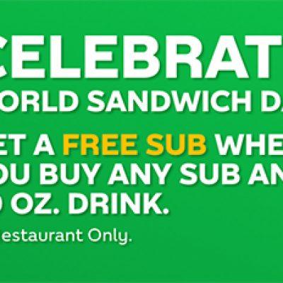 Subway: Free Sub W/ Sub & Drink Purchase - Nov 3