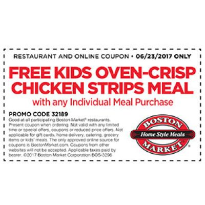 Boston Market: Free Kids Meal W/ Purchase - June 23