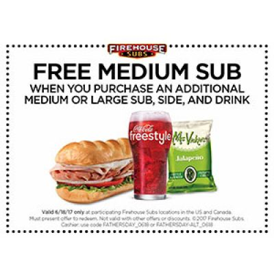 Firehouse Subs: Free Sub W/ Purchase On Father's Day