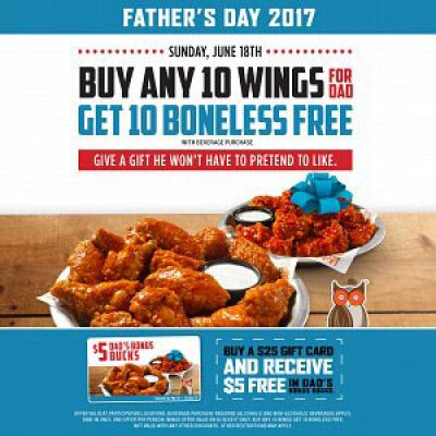 Hooters: Buy 10 Get 10 Wings On Father's Day