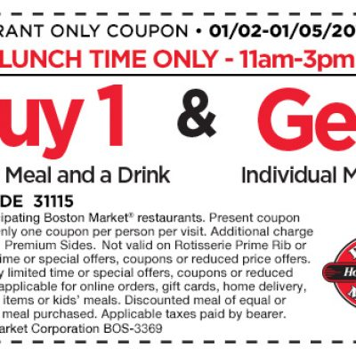 Boston Market: Lunch BOGO Free Meal Coupon - Ends 01/05
