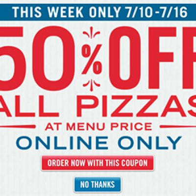 Domino's: 50% Off All Pizzas Online - 7/10 - 7/16