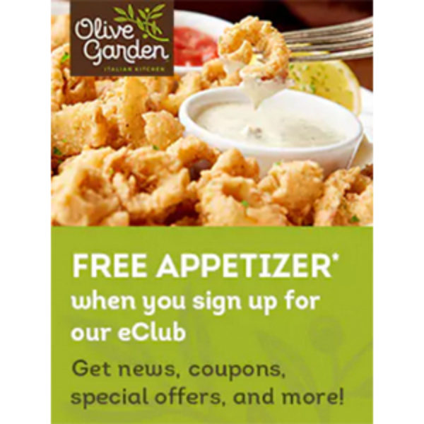 Free App Or Dessert At Olive Garden W Purchase Of 2: Olive Garden EClub: Free App W/ Purchase
