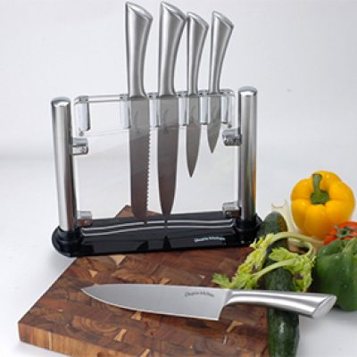 Utopia Kitchen Stainless Steel 5-Piece Knife Set & Stand Just $19.99