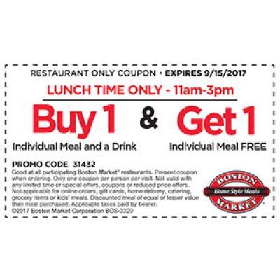 Boston Market: BOGO Free Meal @ Lunch - Ends 9/15