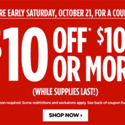 JCPenney: $10 Off $10 - Oct 21