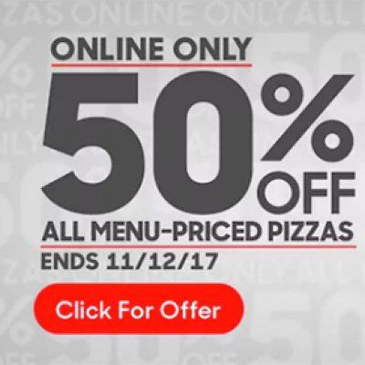 Pizza Hut: 50% Off - Online Only - Ends Nov 12