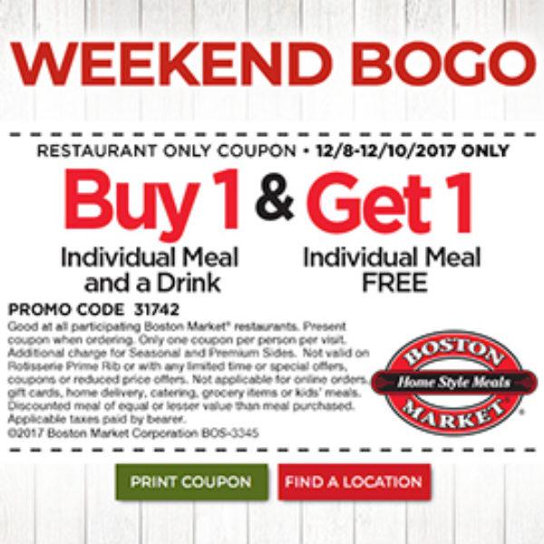 Boston Market: Weekend BOGO Meal