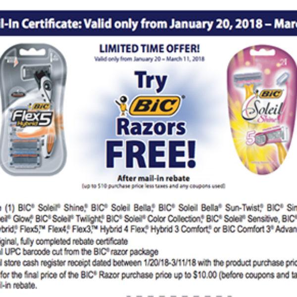 Free BIC Razors After Rebate