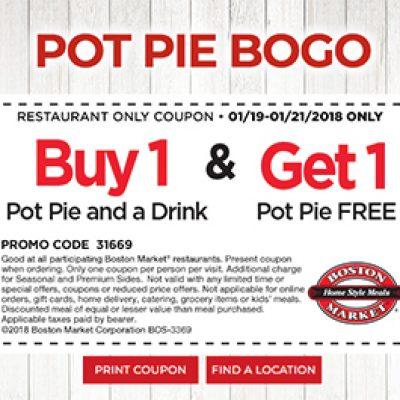Boston Market: BOGO Pot Pie - Last Day 1/21