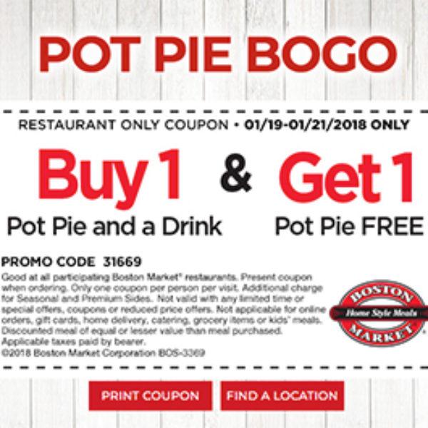 Boston Market: BOGO Pot Pie