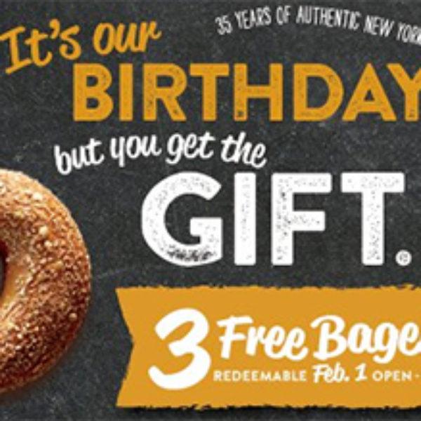 Bruegger's Bagels: 3 Free Bagels W/ Coupon - Feb 1st
