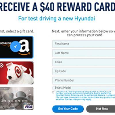 Free $40 Gift Card W/ Hyundai Test Drive