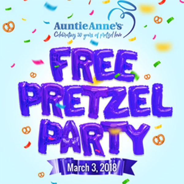Auntie Anne's: Free Pretzel Party - March 3rd