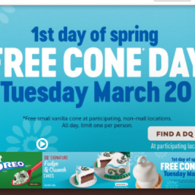 DQ: Free Cone Day - March 20