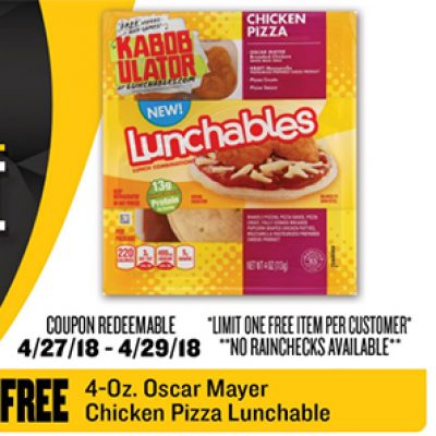 Free Oscar Mayer Lunchable W/ Coupon