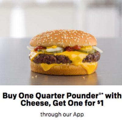 McDonalds App: BOGO For $1 Quarter Pounder