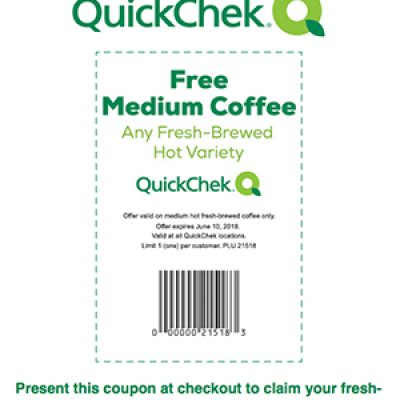 QuickChek: Free Medium Coffee - Expires June 10