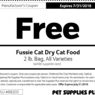 Free Bag of Fussie Cat Dry Food