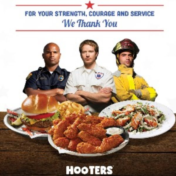 Hooters: Free Meal for 1st Responders W/ Beverage Purchase - Oct 28th