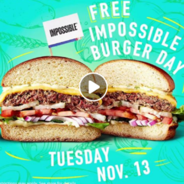 Dave & Busters: Free Impossible Burger Day - Nov 13